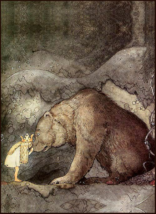 """""""She kissed the bear on the nose."""" by John Bauer (c.1910): Johnbauer, A Kiss, Bears Hugs, Illustration, Night Time, John Bauer, Bedrooms Art, Little Princesses, Fairies Tales"""