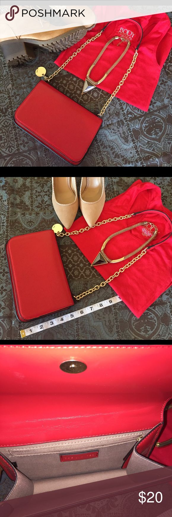 THE LIMITED Red Shoulder Bag w/Gold Accents This cute little handbag isn't just for special occasions. You can dress it up or down it's all up to you. Day time use match it with your favorite pair of boots and night time with your favorite pumps. It's all up to you! Faux leather w/gold tone hardware. *** Bundle w/ other items to save*** The Limited Bags Shoulder Bags