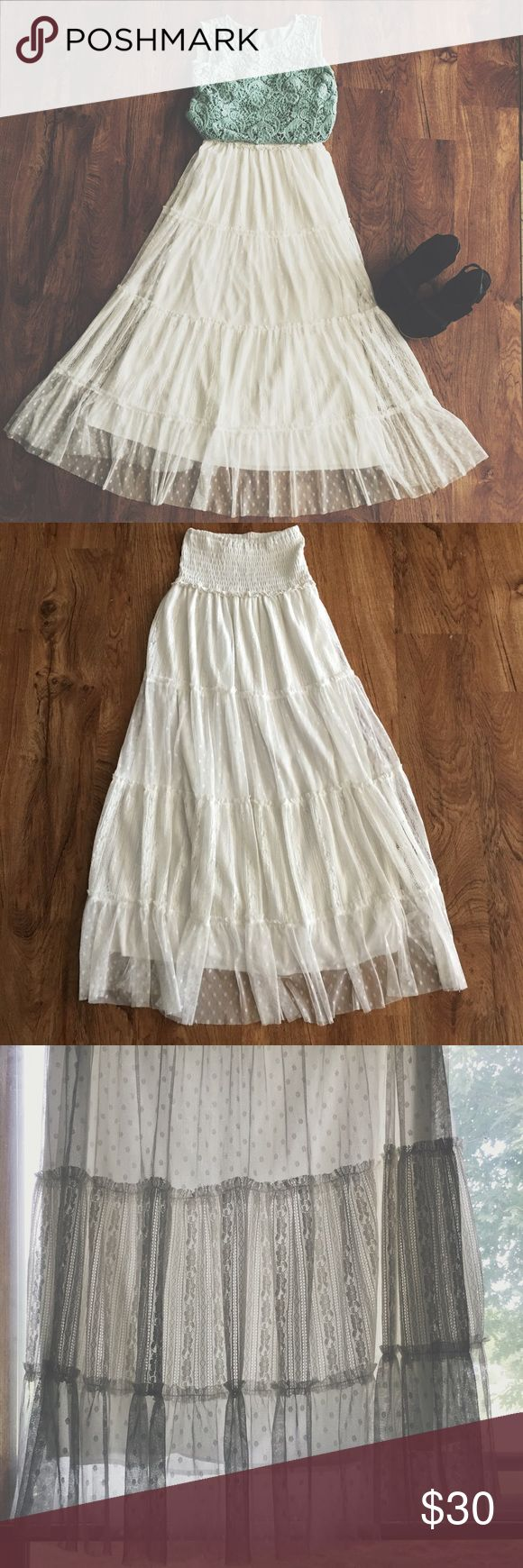 White tule and lace maxi skirt Beautiful and flowing lace and tule maxi skirt. Fully lined, so no need to wear a slip. Each layer alternates between lace and a dotted tule. made in the USA ❤️ Shasa Skirts Maxi