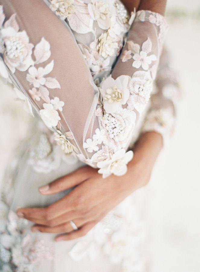 Flower embroidered wedding dress: Photography: Angela Newton Roy - http://angelanewtonroy.com/