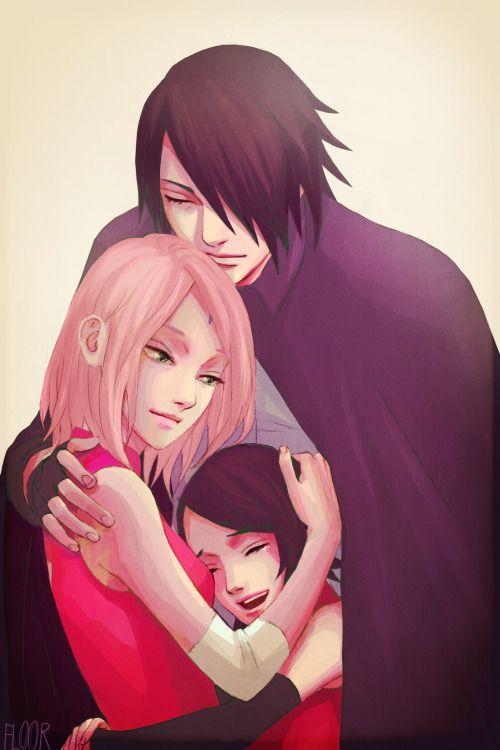 Uchiha Family Sakura Haruno Sasuke Uchiha and Sarada ...