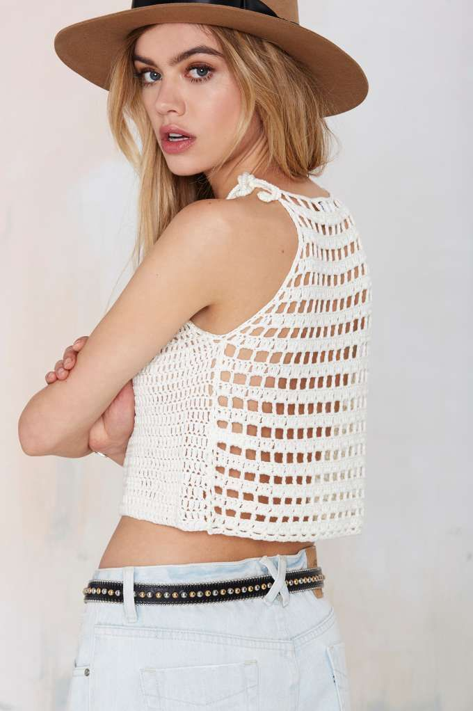 Glamorous Center Stage Crop Sweater - Cropped   Tops