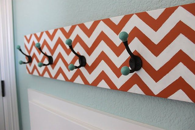 Great Chevron/ Zig Zag painted piece for hanging items.. could be used in many spaces..