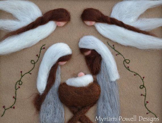 Natividad - Natividad Vintage - fibra arte de fieltro Natividad - Mary Joseph Jesus Esta hermosa Natividad es aguja de fieltro de fieltro