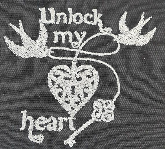 Digital Embroidery Design  Unlock my heart by EmbroideryDesignsBRN