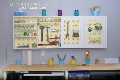 diy garage wall cabinet with sliding door, closet, craft rooms, diy, doors, garages, home improvement, kitchen cabinets, kitchen design, organizing, storage ideas