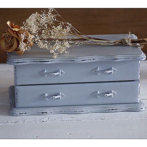 Boîte à bijoux gris organisateur de bijoux peint par EcoChicShack