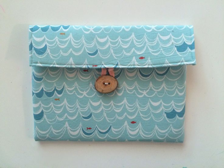 Ipad Air padded cover.  iPad Air 2 padded cover.  Light blue organic cotton with wave motif - handmade wooden button.  Handmade. by scraphilldesigns on Etsy
