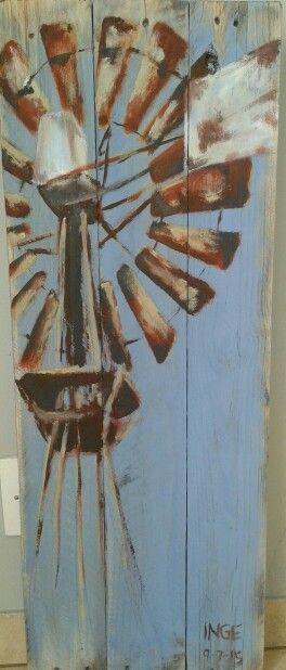 Inge du Preez: windmill...acrylic onto pallet wood