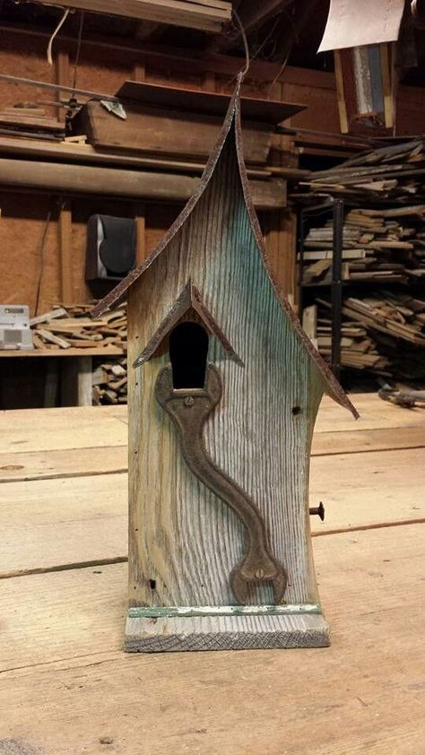 Birdhouse Metal Birdhouse Reclaimed Objects Birdhouse by channa01 | Things to Wear | Pinterest