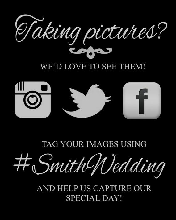 Instagram Wedding Sign  Printable by ElegantPrintables on Etsy, $8.00