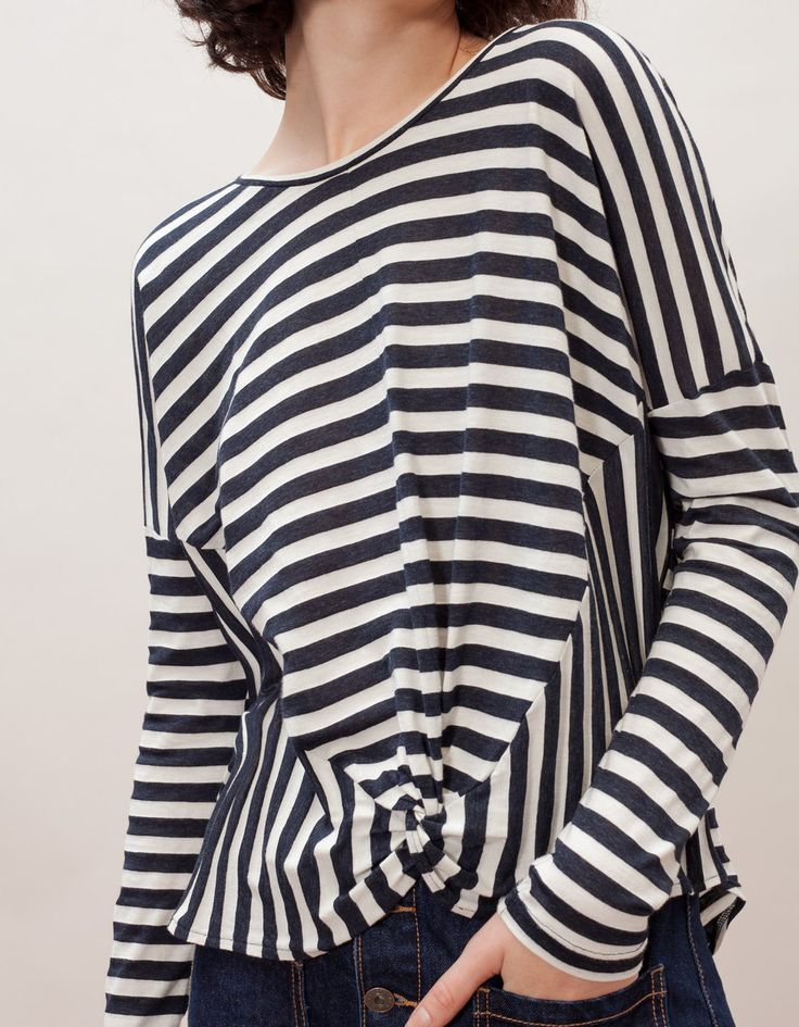 Love the styling on this Breton Stripe inspired blouse. Saint Tropez chic style.