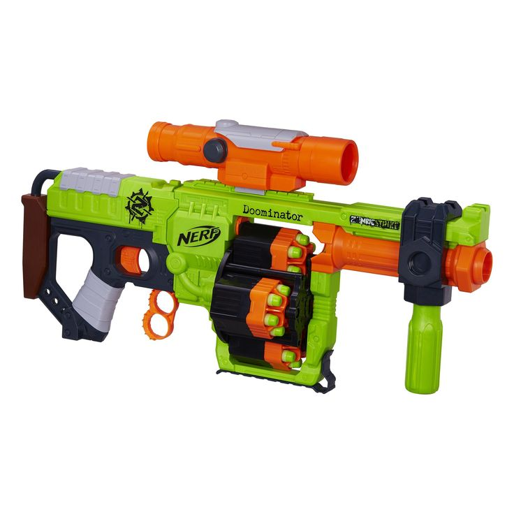 Nerf Zombie Strike Doominator Blaster - Bonus with 50 Darts & Scope. Recommended for ages 8 years and up.