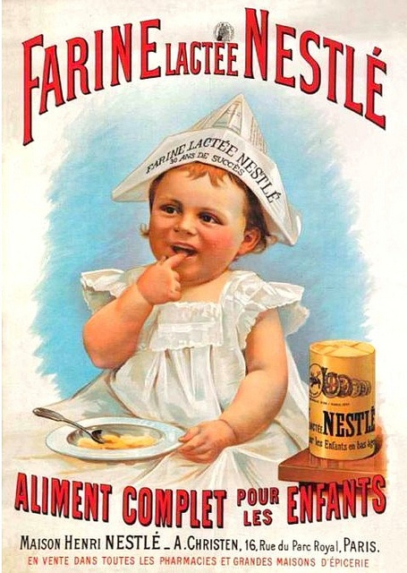 Old poster-ad for Nestlé baby food