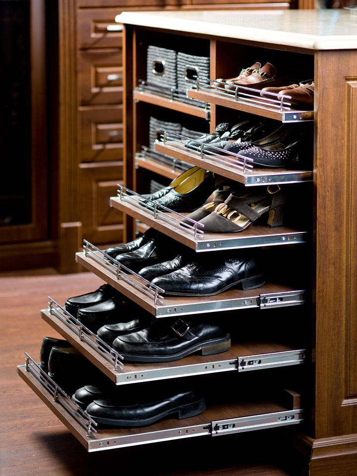 Pull Out Shoe Rack – can be added anywhere and to any depth of shelf. They are most effective located lower than waist level to aid in seeing to the back of deep shelves at low levels. An excellent investment if you prefer this to drawers at a lower level. Very useful for shoes and bag storage.