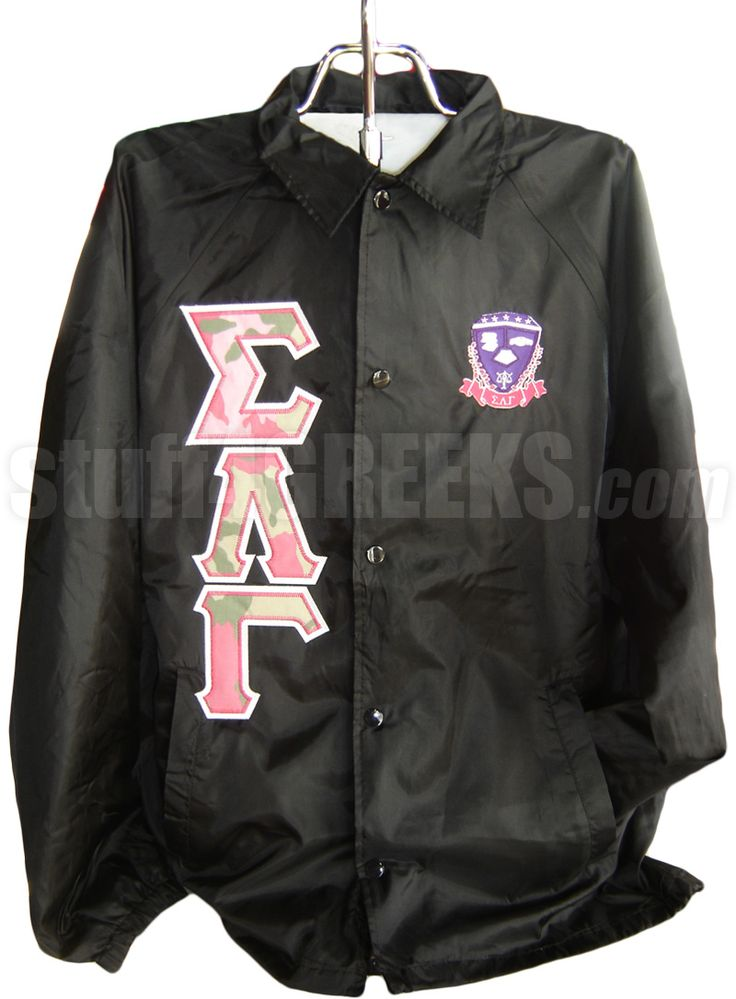 sigma lambda gamma camo greek letter line jacket with With sorority letter jackets