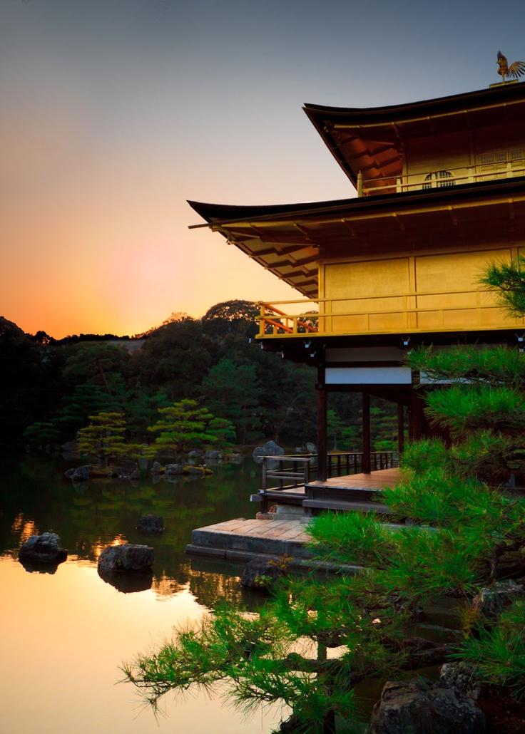 Kinkaku-ji (金閣寺 Temple of the Golden Pavilion), also known as Rokuon-ji (鹿苑寺 Deer Garden Temple), is a Zen Buddhist temple in Kyoto, Japan... http://en.wikipedia.org/wiki/Kinkaku-ji