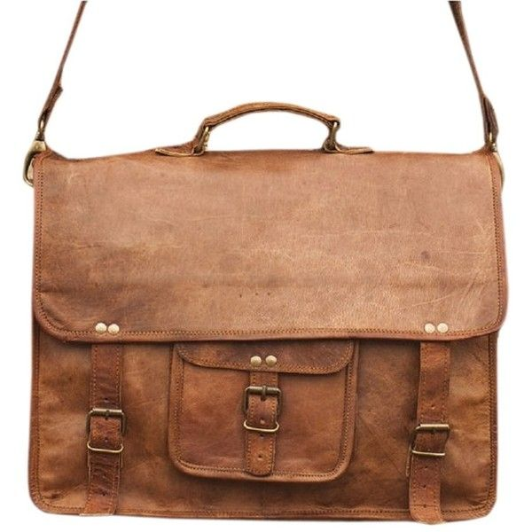 Right Choice Leather Messenger bag Macbook Laptop Satchel Bag Women... ($30) ❤ liked on Polyvore featuring bags, brown leather satchel, brown leather bag, laptop bag, leather satchel bag and laptop courier bag