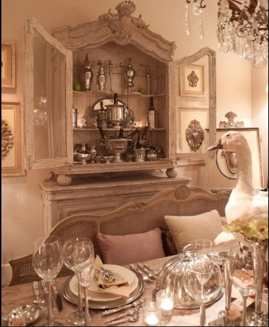 Displaying Silver In An Antique Styled French Armoire For That Extra Flair