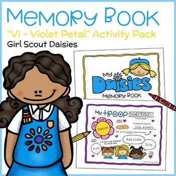 Girl Scout Daisies - Vi the Violet - Violet Petal Badge -  Daisies practice being sisters to every Girl Scout by creating and sharing memory books that commemorate their first year(s) in Girl Scouts. They color and fill in up to ten age-appropriate drawing and writing prompts that tell about themselves, their leaders, Daisy friends, favorite Girl Scout activities, camping trips, and more! One page allows girls to compare and contrast themselves with Daisy friends...