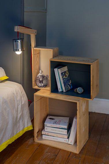 Voilà, vous venez de fabriquer une table de chevet sympa avec des caisses à vin et sa lampe de chevet en quelques étapes !
