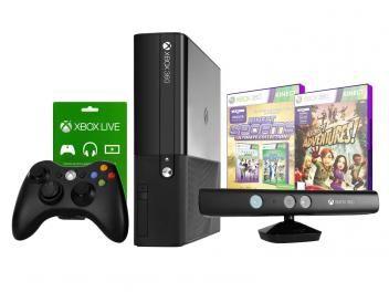 Console Xbox 360 4GB com Kinect 1 Controle - 2 Jogos Cartão Xbox Live 1 mês - Microsoft