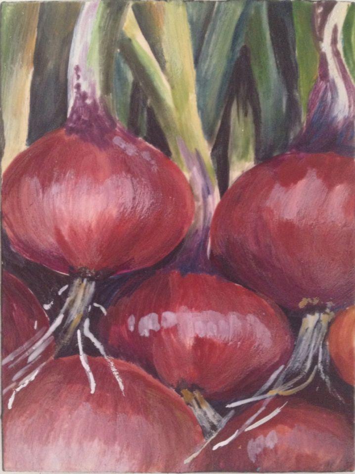 More red onions. Encaustic.