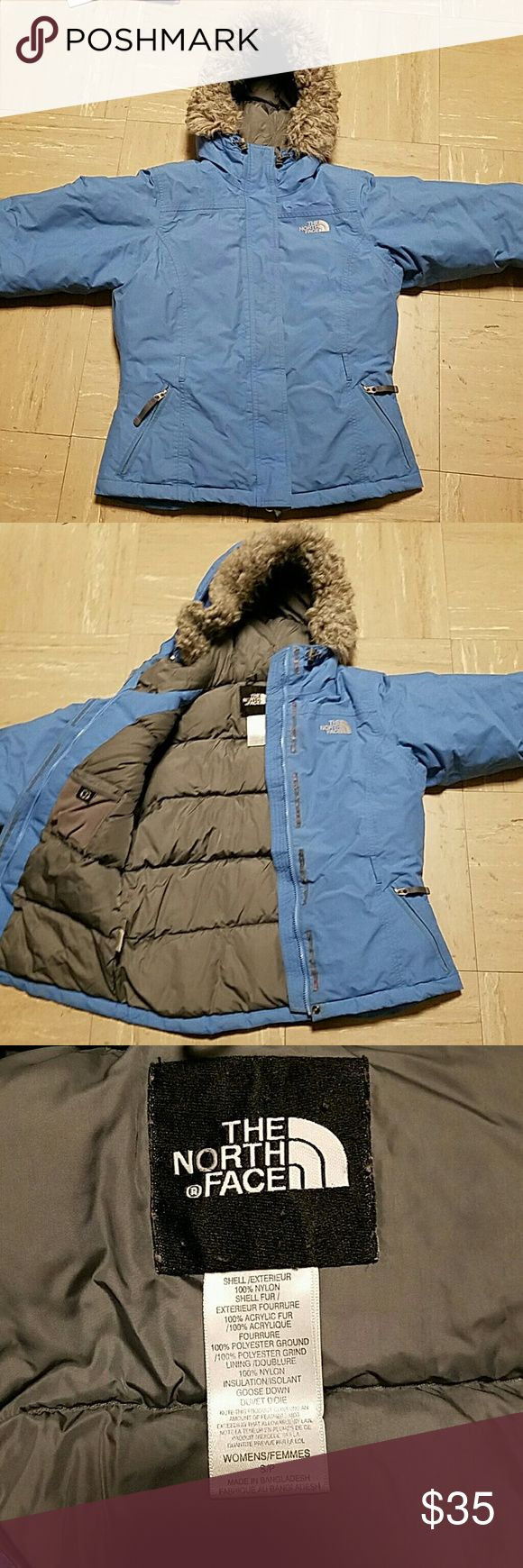 North Face Down Winter Coat Super thick goose down coat from north face. Has removable faux fur around the hood. Scuff on one shoulder seen in last photo The North Face Jackets & Coats