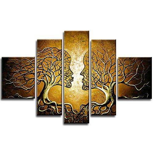 Wieco Art - Brown Human Tree Modern 5 Panels 100% Hand Painted Stretched and Framed Contemporary Abstract Oil Paintings on Canvas Wall Art Ready to Hang for Living Room Bedroom Home Decorations