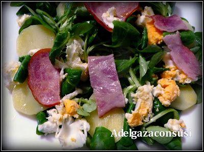 Recetas Light - Adelgazaconsusi: Ensalada templada de canónigos con bacon de pavo
