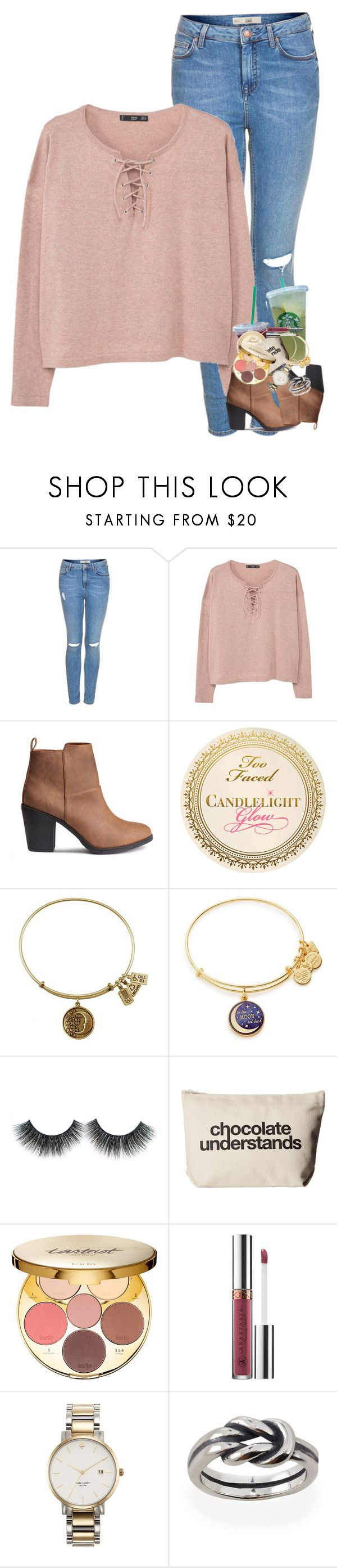 """""""Why am I listening to Latin music ?"""" by supremegrier ❤ liked on Polyvore featuring Topshop, MANGO, Alex and Ani, Dogeared, tarte, Anastasia Beverly Hills and Kate Spade"""