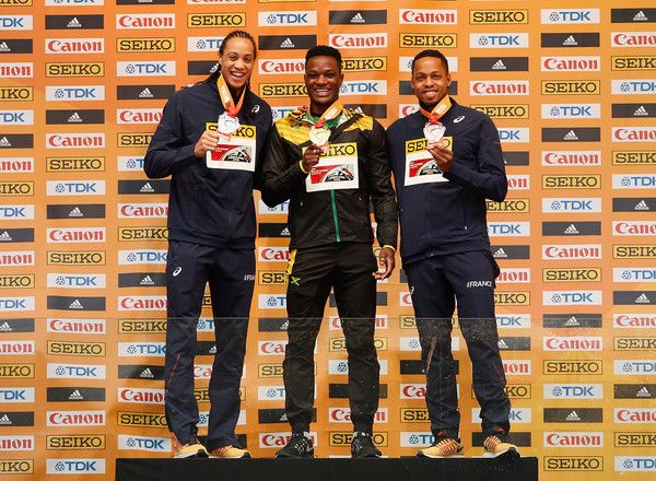 L-R) Silver medallist Pascal Martinot-Lagarde of France, gold medallist Omar Mcleod of Jamaica and bronze medallist Dimitri Bascou of France during the medal ceremony for the Men's 60 Metres Hurdles during day four of the IAAF World Indoor Championships at Pioneer Courthouse Squareon March 20, 2016 in Portland, Oregon.