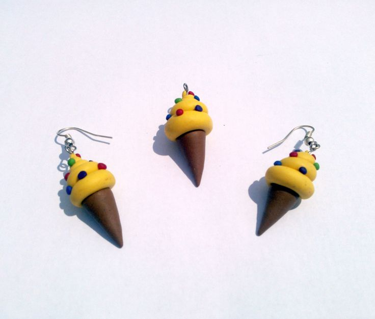 Ice Cream Earrings Handmade Polymer Clay by MultiCrea on Etsy