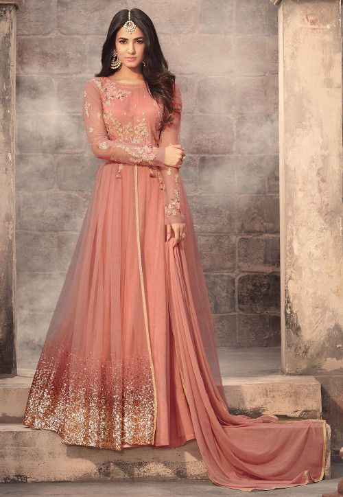 f5b193af358 Embroidered Net Abaya Style Suit in Dark Peach
