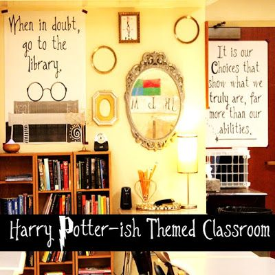 Harry Potter-ish Themed High School Classroom. Great ideas for a Harry Potter inspired classroom and secondary classroom theme! @Bsbooklove