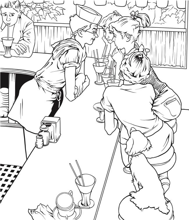 Creative Haven Norman Rockwell Classics from The Saturday Evening Post Coloring Sheets