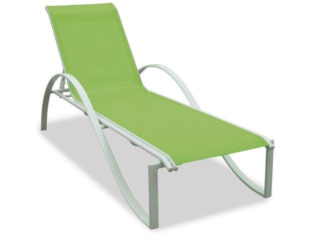 Garden Classics   South Beach Chaise Lounge   White Frame (aluminum) With  Ginkgo Sling