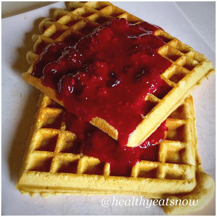 "Made these AMAZING cashew waffles today for #wafflewednesday from justjessieb.com blog. I did change the ""berry syrup"" a bit add 3 cups of mixed frozen berries to a small pot on medium heat on the stove. Add 1 tbsp"