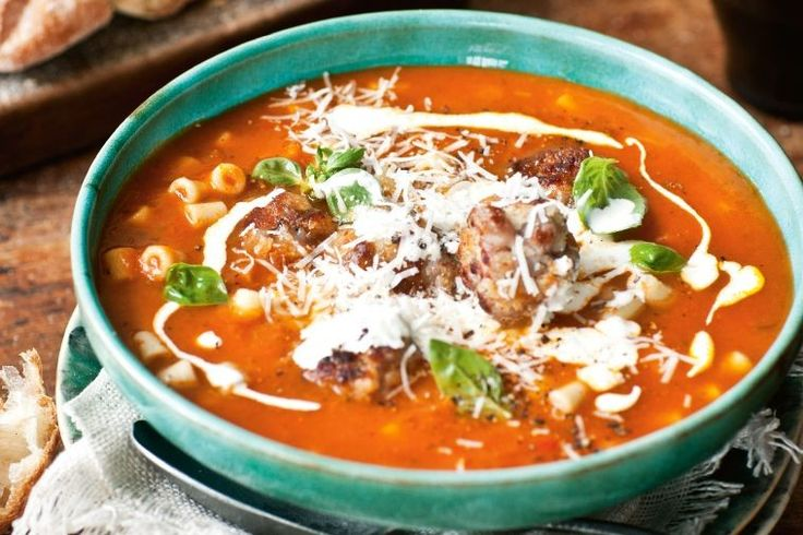 Pork and fennel meatball soup with pasta