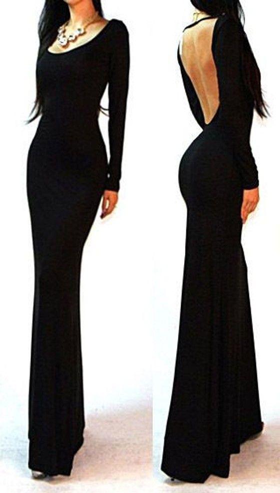 Black Plain Long Sleeve Backless Sexy Dress