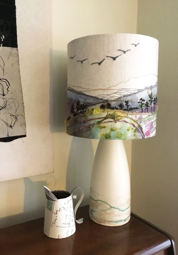 British landscape lampshade with embroidery of geese, measuring 20 x 20cm.  http://www.johilltextiles.co.uk/lampshades