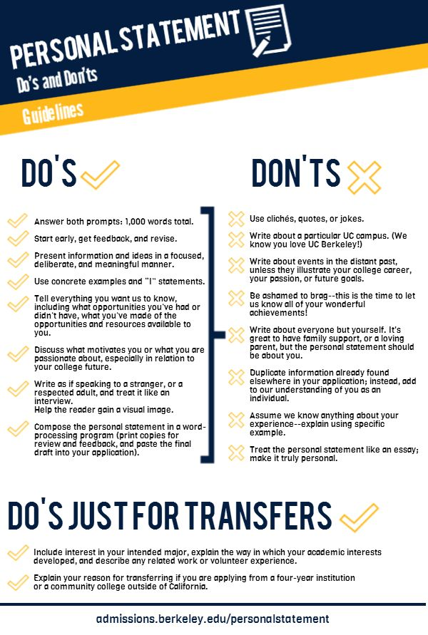 This is from UC Berkeley Admissions, but still contains some good tips for personal statements.