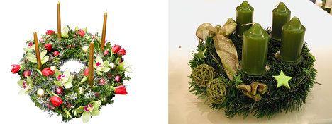 Na foto (zleva): Aranžmá je vytvořeno na základu z jedlové chvoje, buksusu a drátovce. Zdobení živými květy orchidejí a tulipánů je doplňováno dekoračními doplňky. Cena 1950 Kč. A co zkusit zelené svíčky na věnci z jedlových větviček? Stačí je doplnit o zlaté detail. Cena 421 Kč; archiv Flowers go home a Květinářství květiny Dvořák