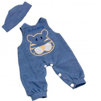 Miniland Clothing Blue Denim Overalls and Cap  (38-42 cm Doll)