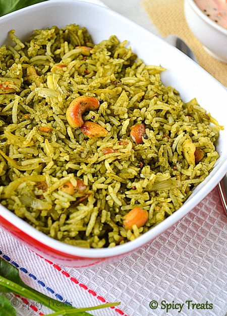Spicy Treats: Quick Palak Rice / Spinach Rice