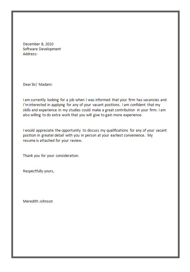application letter template templates example unsolicited