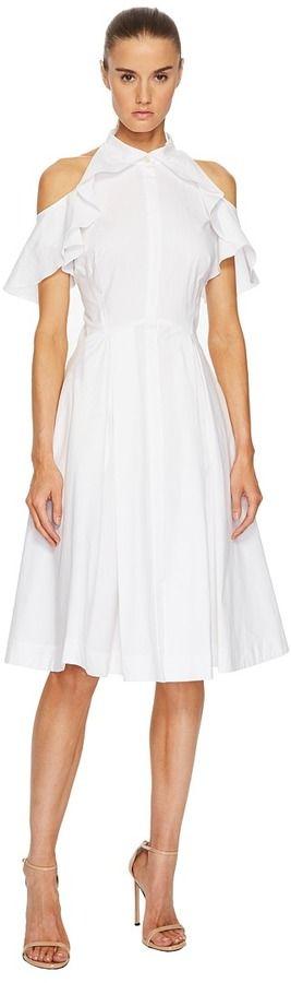 Zac Posen Cotton Poplin Cold Shoulder Dress Women's Dress