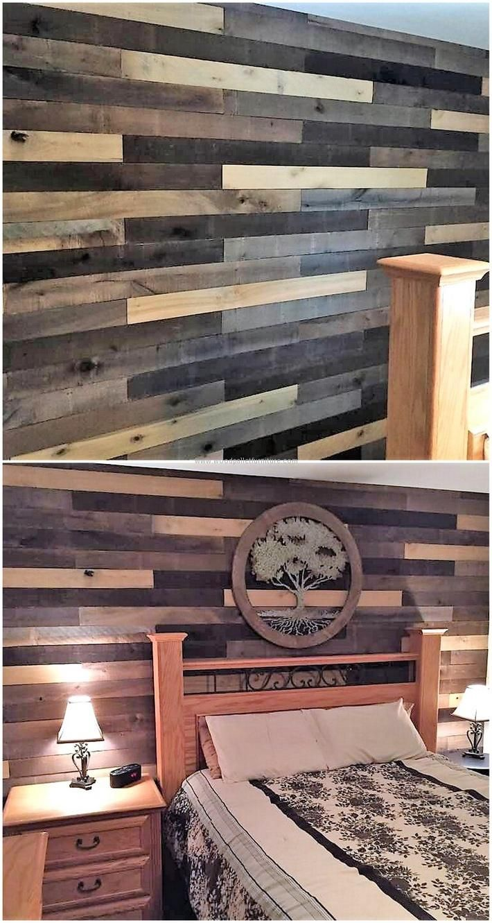 If anyone wants to decorate the bedroom uniquely and have the repurposed wood pallets at home, then nothing is better than using them for the wall art. Cutting the pallets and painting them with different dark colors consumes some time for the wall art.