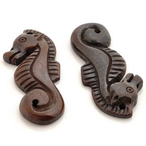 Wholesale Pendants Carved-42x15mm Seahorse Pendant-Brown - Pendant Beads - Buy Beads Online - tamarascottdesigns.com