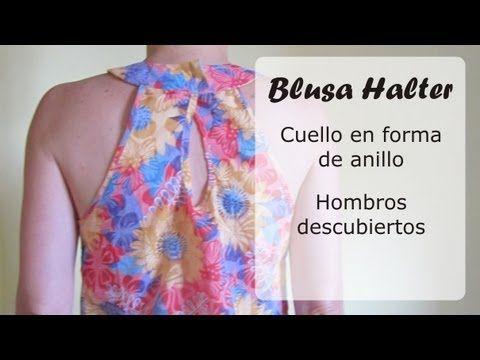 Blusa Halter, hombros descubierto y cuello tipo anillo   EL BAÚL DE LAS COSTURERAS